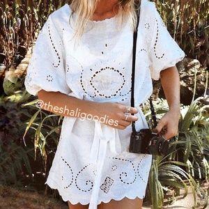 SPELL Lala White Lace Linen Shift Mini Dress NWOT